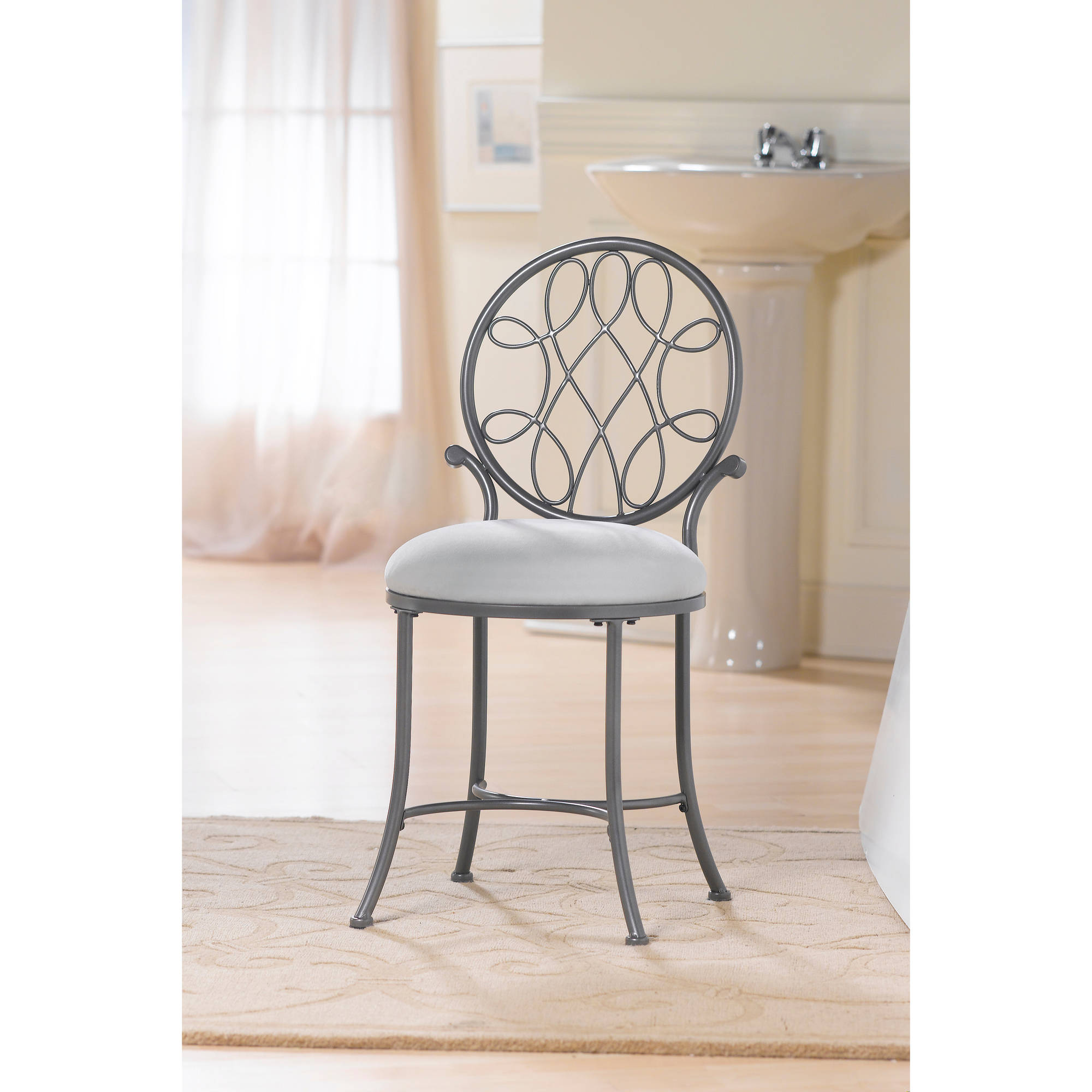 Hillsdale O Malley Vanity Stool In Gray Onsales11 Com