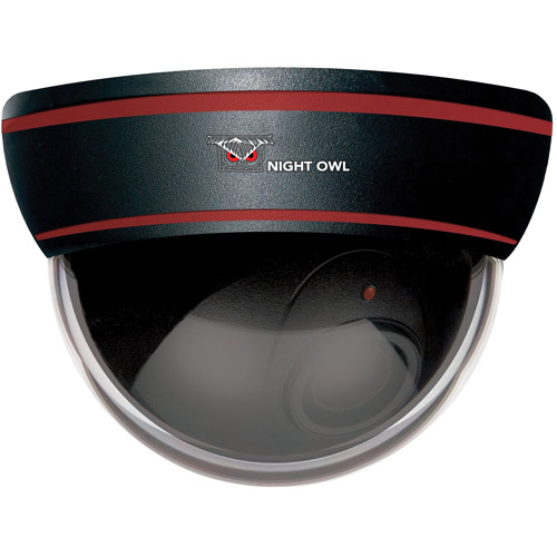 Night Owl DUM-DOME-B Decoy Dome Camera with Flashing LED Deterrent Light, Black