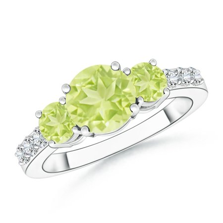 August Birthstone Ring - Three Stone Round Peridot Ring with Diamond Accents in Platinum (7mm Peridot) - SR0263PD-PT-A-7-3.5