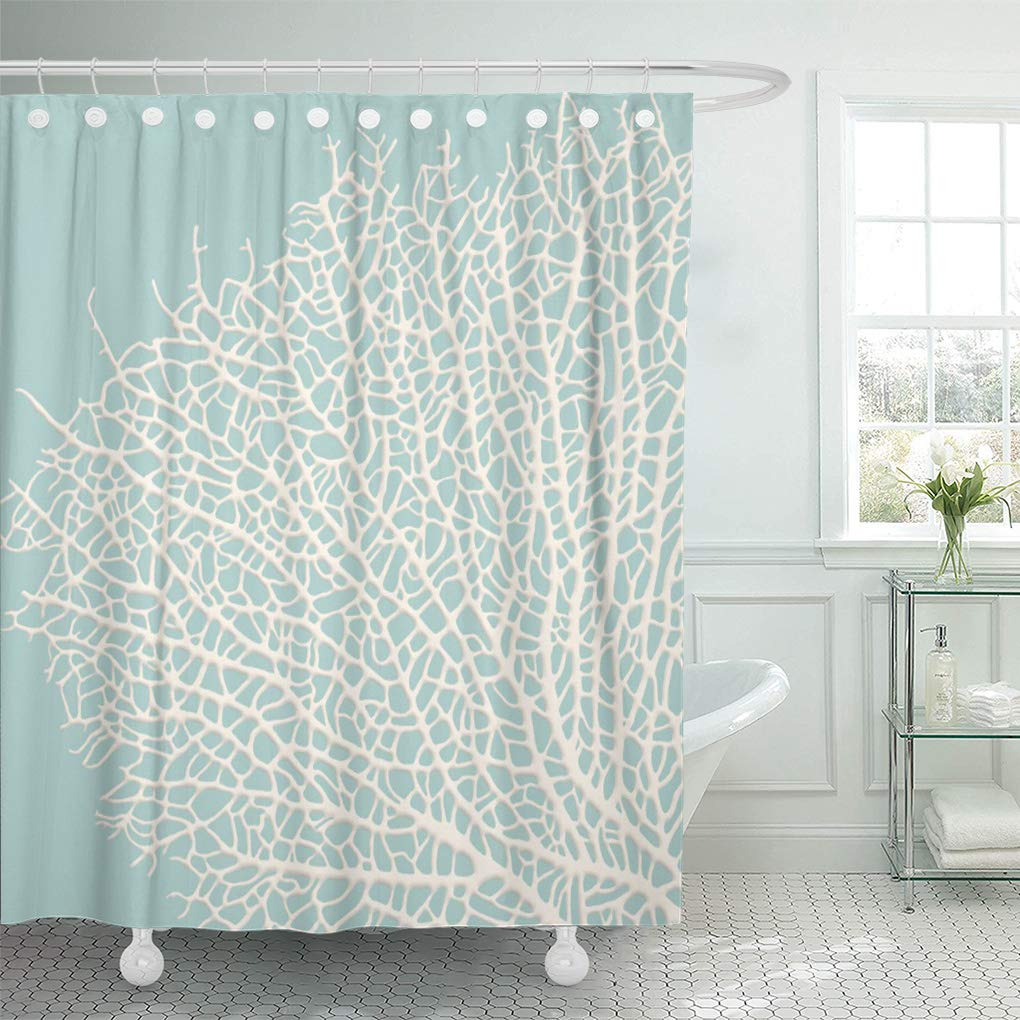 CYNLON Coastal Coral Branch Nautical Beach Ocean White Turquoise Bathroom  Decor Bath Shower Curtain 8x8 inch - Walmart.com