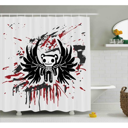 Halloween Shower Curtain, Teddy Bones with Skull Face and Wings Dead Humor Funny Comic Terror Design, Fabric Bathroom Set with Hooks, 69W X 75L Inches Long, Pearl Black Ruby, by Ambesonne