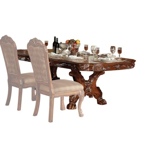 ACME Dresden Dining Table with Trestle Pedestal in Cherry Oak Cherry Dining Room Pedestal