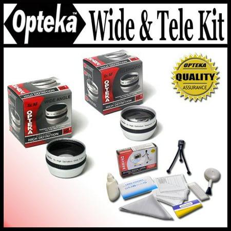 Opteka 0.5x Wide Angle & 2x Telephoto HD2 Pro Lens Set for Canon Elura 60, 65, 70, 80, 85, 90, Optura 200MC, 30, 40, 50, 60, 600, VIXIA HF R20, - 40 50 90