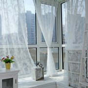 Window Lace Floral Net Sheer Curtains Voile Window Panel Drapery Valances Decor