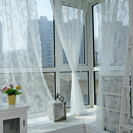 Window Lace Floral Net Sheer Curtains Voile Window Panel Drapery Valances Decor ()