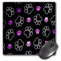 3dRose Paw Prints Purple Pink Tracks, Mouse Pad, 8 by 8 inches