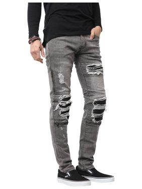 Ma Croix Mens Biker Jeans Distressed Ripped Zipper Straight Slim Fit Stretch Denim Pants