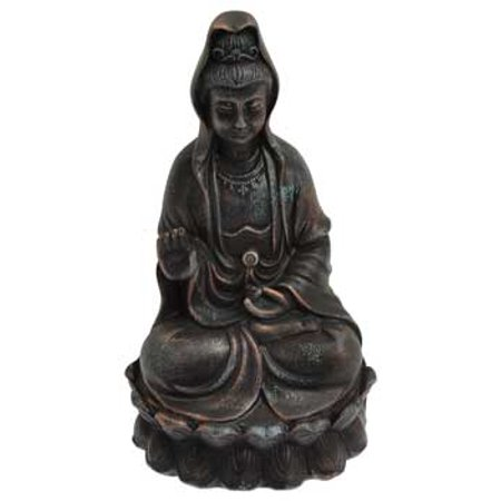 Religious Statue Kuan Yin Goddess of Mercy Detailed Sitting in Serene Pose Aid You In Overcoming Life Problems Made of Cold Cast Resin Painted Black Coloring 5 1/2