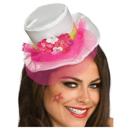 Women's White Mini Top Hat With Pink Veil and Flowers (Mini Top Hat With Veil)