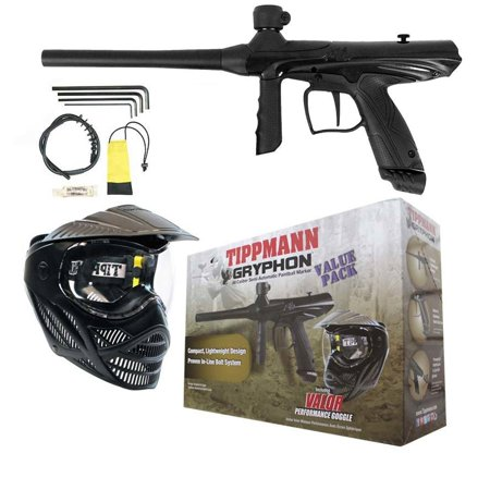 Paintball Marker Players Kit (TIPPMANN GRYPHON PAINTBALL GUN VALUE PACK - MARKER + VALOR MASK - BLACK )