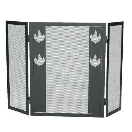 Mind Reader 3 Panel Fire Place Screen, Room Divider, Fire Design, Black
