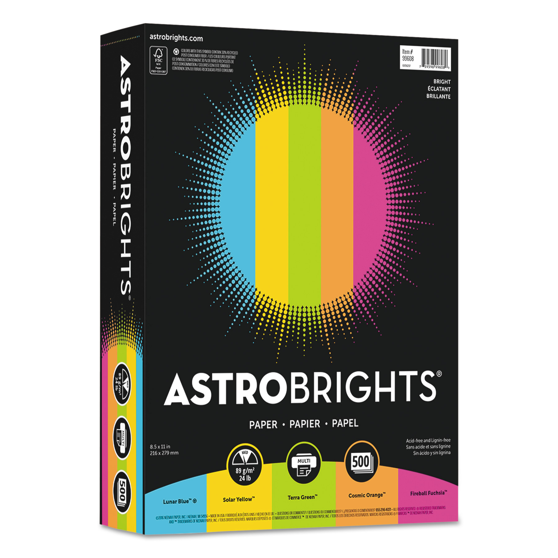 "Astrobrights Color Paper -""Bright"" Assortment, 8 1/2 x 11, 5 Colors, 24lb, 500 Sheets -WAU99608"