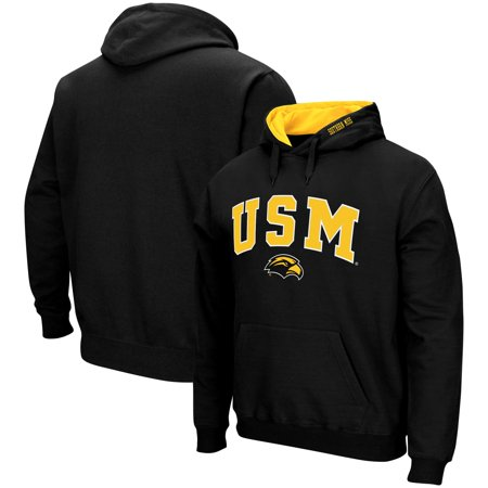 Southern Miss Golden Eagles Colosseum Arch & Logo Tackle Twill Pullover Hoodie - Black