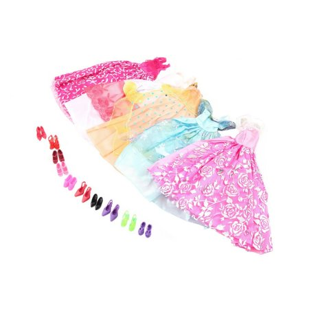 Lot 15 Items 5 Sets Fashion Casual Wear Clothes Outfit Handmade Party Dress with 10 Pair Shoes for Barbie Doll Birthday Xmas GIFT
