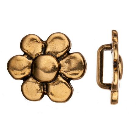 Flat Cord Slider Beads, Antique Gold-Plated, Flower Slider Beads