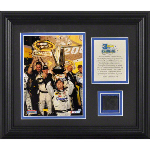 Jimmie Johnson - 2008 Champion - Framed 6x8 Photograph with Championship Clinching Tire