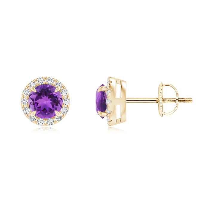 Angara Claw Amethyst and Diamond Halo Stud Earrings in Rose Gold in Rose Gold VFEEjbwW