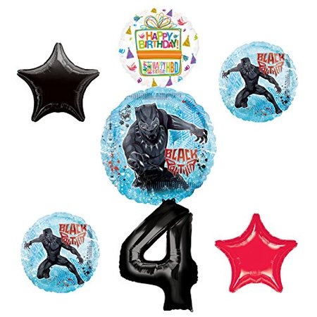 Black Panther Party Supplies 4th Birthday Balloon Bouquet Decorations - Red And Black 50th Birthday Decorations