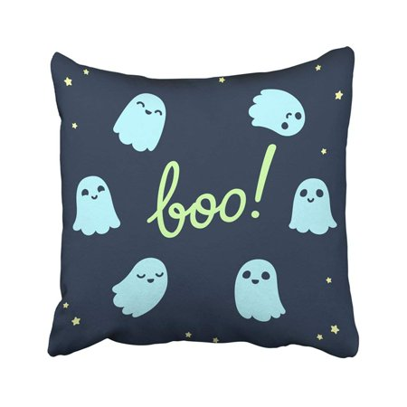 WOPOP Halloween of Cute Cartoon Ghosts with Different Facial Expressions on Night Sky with Text Pillowcase 20x20 inch for $<!---->