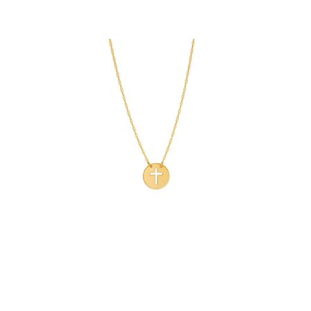 14k Gold Cut-out Cross Disk Necklace on Rope Chain Adjustable Length - So - 14k Gold Disc