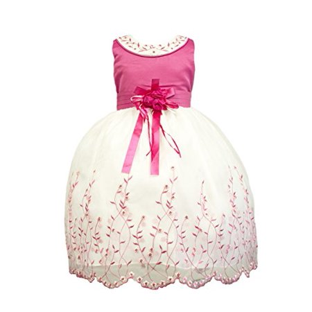 StylesILove Round Neck Bodice Embroidery Dress (10-11 Years, - Pink Dresses For Girls