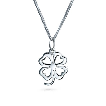 Heart Flower Shamrock Good Luck Charm Four Leaf Clover Pendant Necklace For Women For Teen 925 Sterling Silver