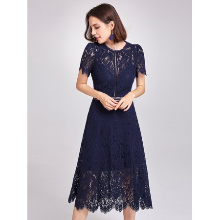 659717f83228 Ever-pretty - Alisa Pan Women s A Line Short Sleeve Sheer Lace Black Tie  Wedding Guest Cocktail Party Midi Dresses for Women 05922 Navy Blue US 4 -  Walmart. ...
