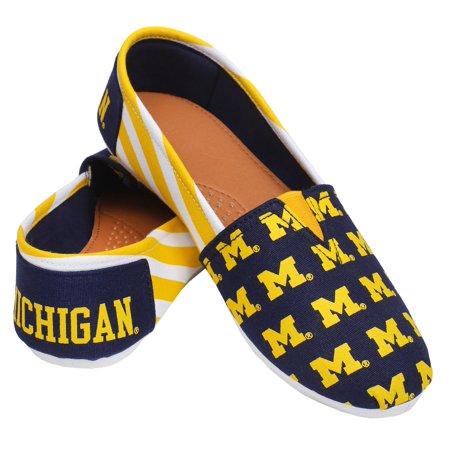 Michigan Wolverines Women's NCAA Slip On Canvas Stripe Shoe (Michigan Wolverines Slippers)
