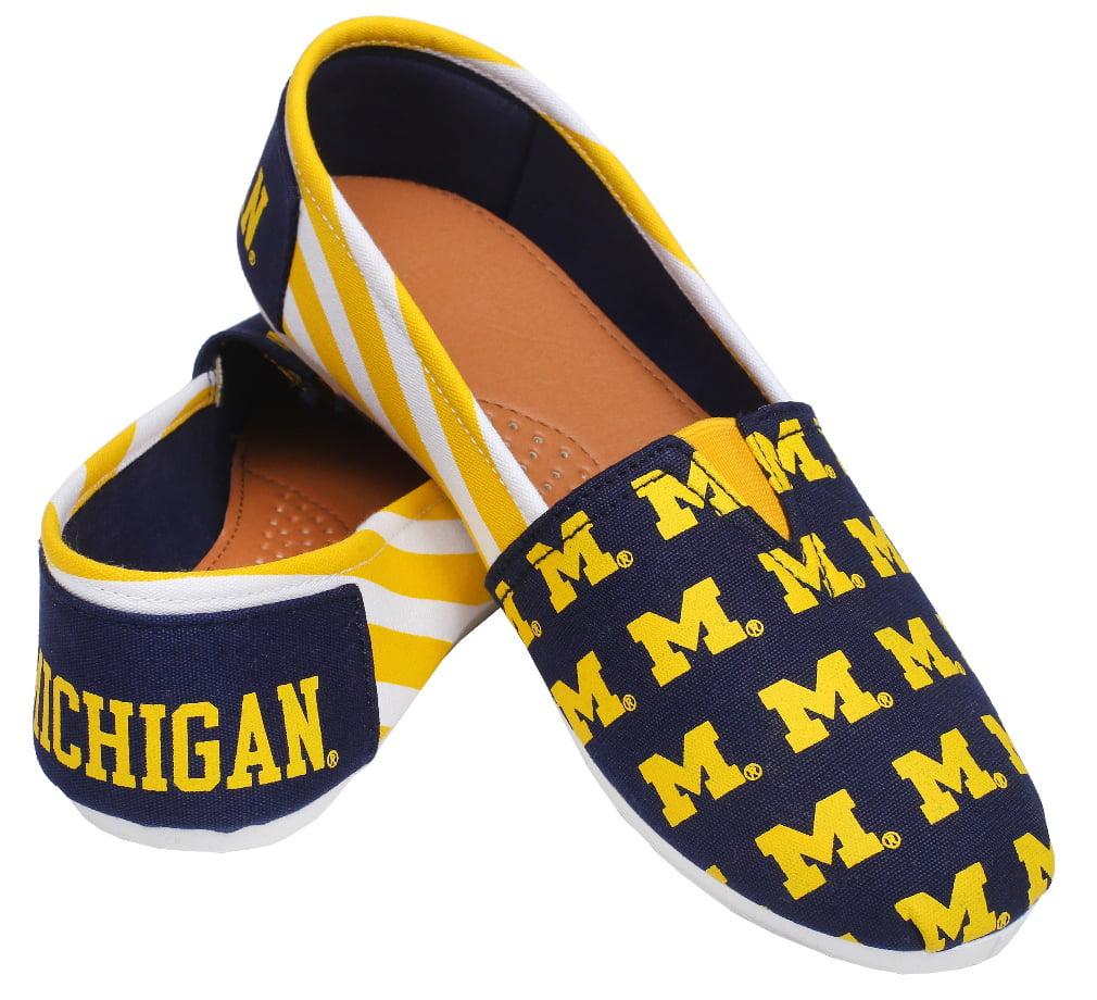 Michigan Wolverines Women's NCAA Slip On Canvas Stripe Shoe Slippers