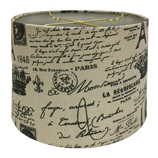 Royal Designs Linen Eggshell And Black Vintage French Print Hardback Lamp Shade 13 X 14 X 9 Walmart Com Walmart Com
