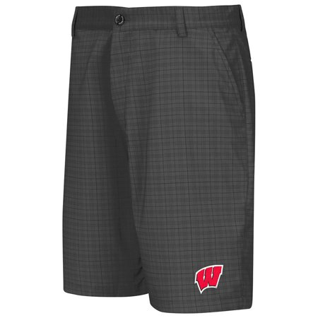 Mens Wisconsin Badgers Plaid Shorts (Leather Shorts Men)