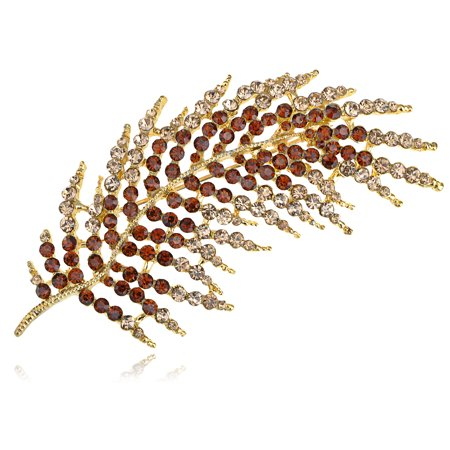 Golden Smoke Topaz Holiday Feather Leaf Palm Frond Crystal Rhinestone Pin Brooch