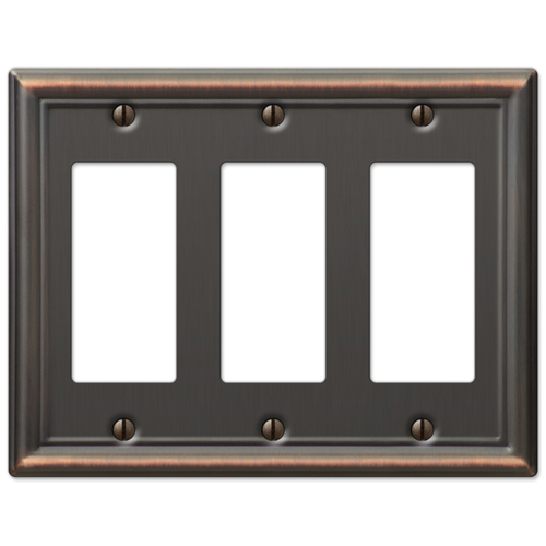 Triple GFCI Rocker 3-Gang Decora Wall Switch Plate, Oil Rubbed Bronze