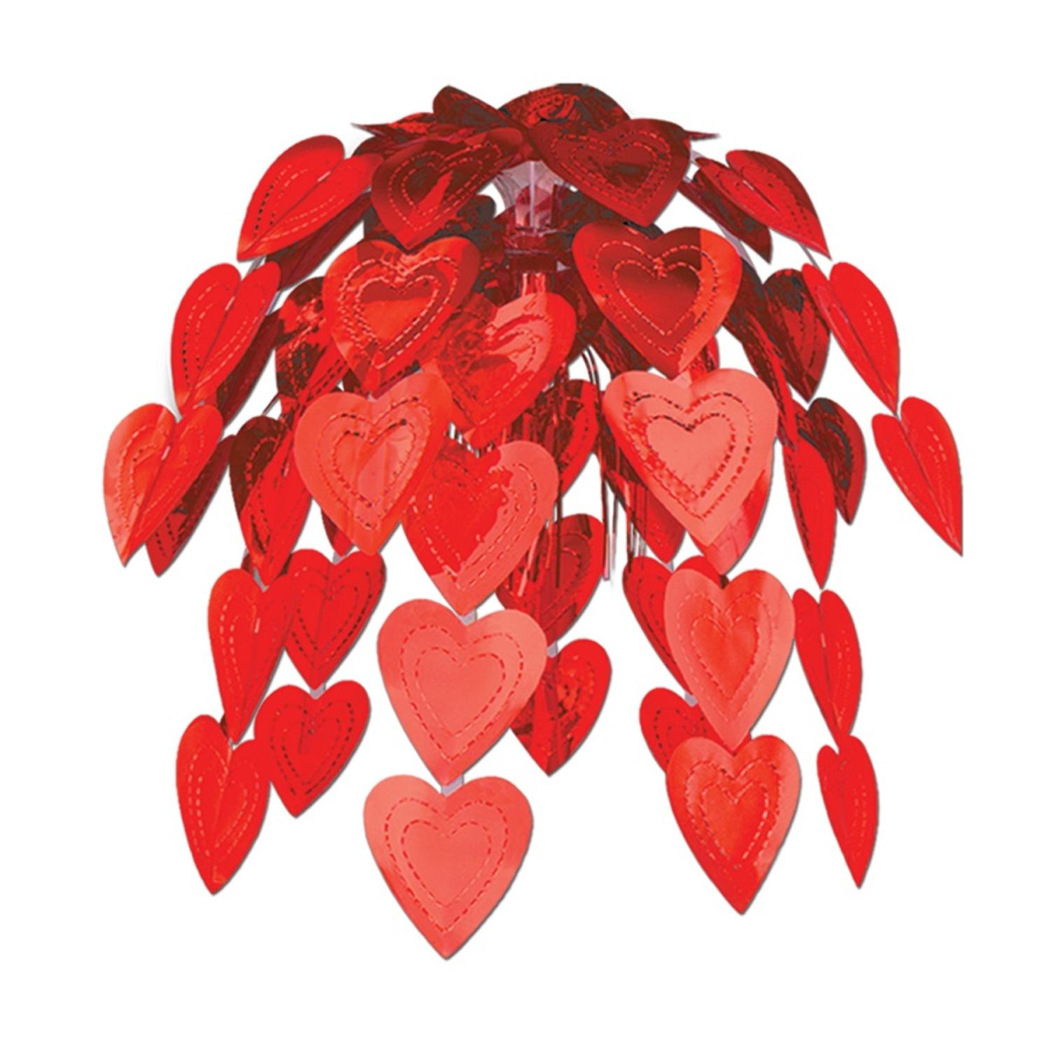 Pack of 12 Metallic Red Cascade Valentines Hearts Hanging Party Decorations 24""