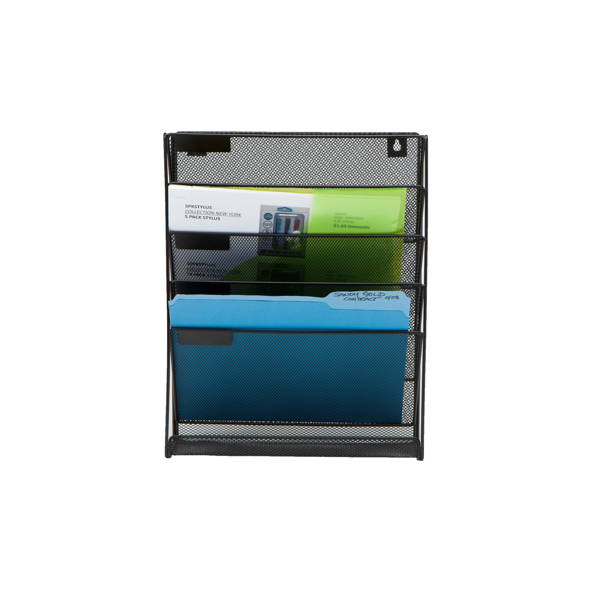 Mind Reader Wall Mounted Newspaper and Magazine Rack for Bathroom, Office, Entryway, Black by EMS Mind Reader LLC