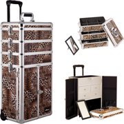 Sunrise I3365LPBR Leopard Printing Texture Professional Makeup Case French Door Opening with Split Drawers