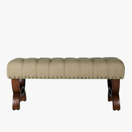 HomePop Carolina Decorative Tufted Bench With Nailhead Trim, (Decorative Nailhead)