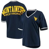 West Virginia Mountaineers Women's Contrast V-Neck Spirit Jersey T-Shirt - Navy