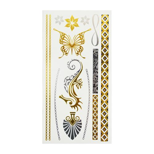 High Quality Stylish & Safe Metallic Gold Silver Temporary Body Tattoo - Style 5