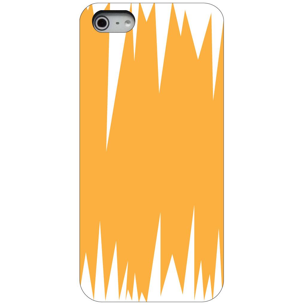 CUSTOM Black Hard Plastic Snap-On Case for Apple iPhone 5 / 5S / SE - Orange White Spikes