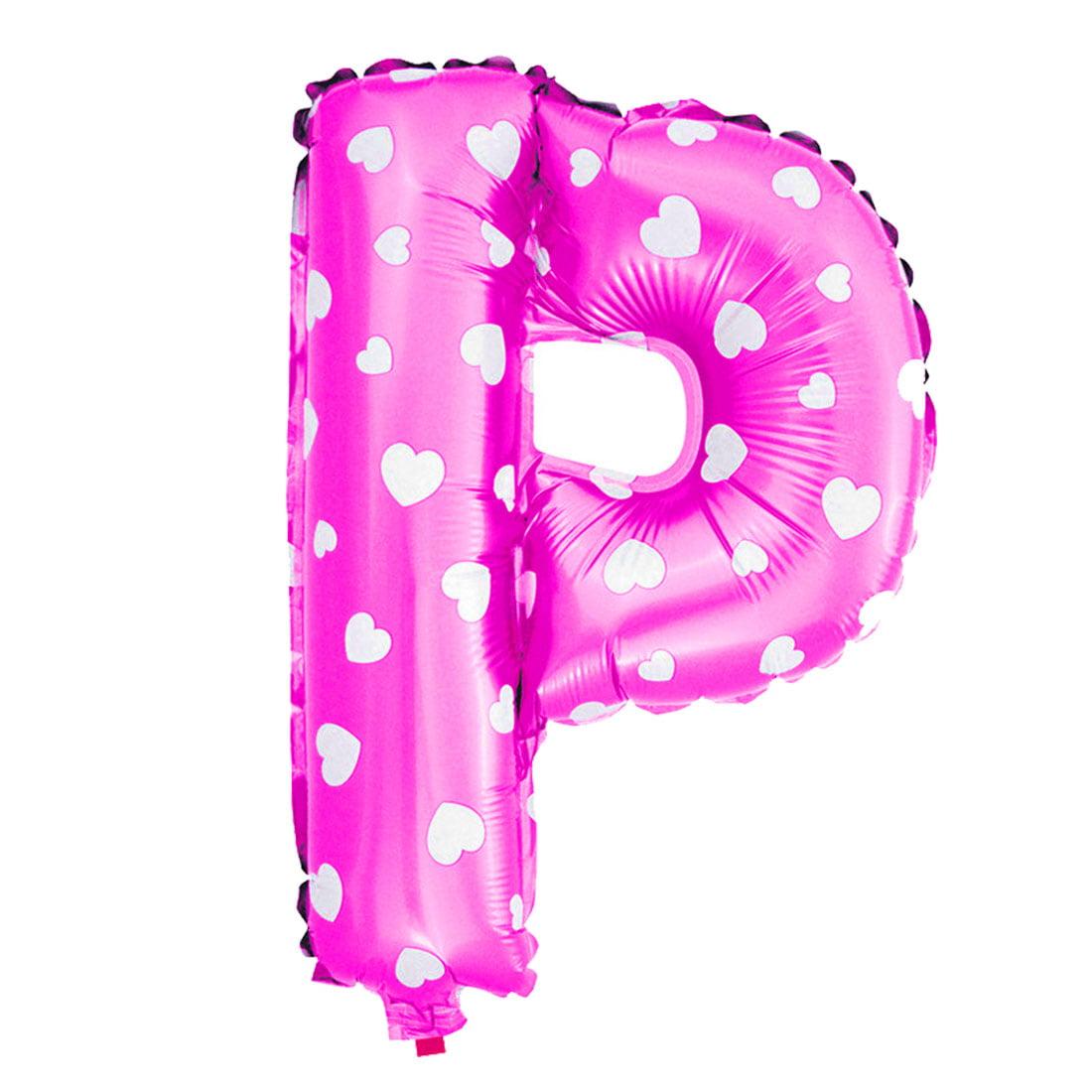 "Unique Bargains Foil Letter P Heart Pattern Helium Balloon Birthday Wedding Decor Fuchsia 16"""