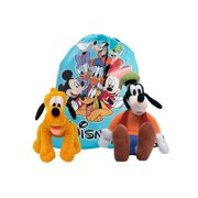 "Disney 2 PC  Pluto & Goofy 11"" Plush Doll Toys w/ Sling bag"