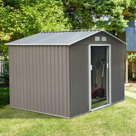 outsunny 9 x 6 outdoor backyard metal garden utility storage shed graywhite walmartcom - Garden Sheds 9x6