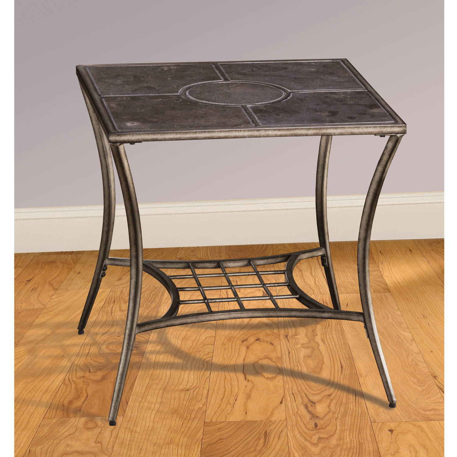 Wesson Cend Table, Black Pewter with Blue Stone