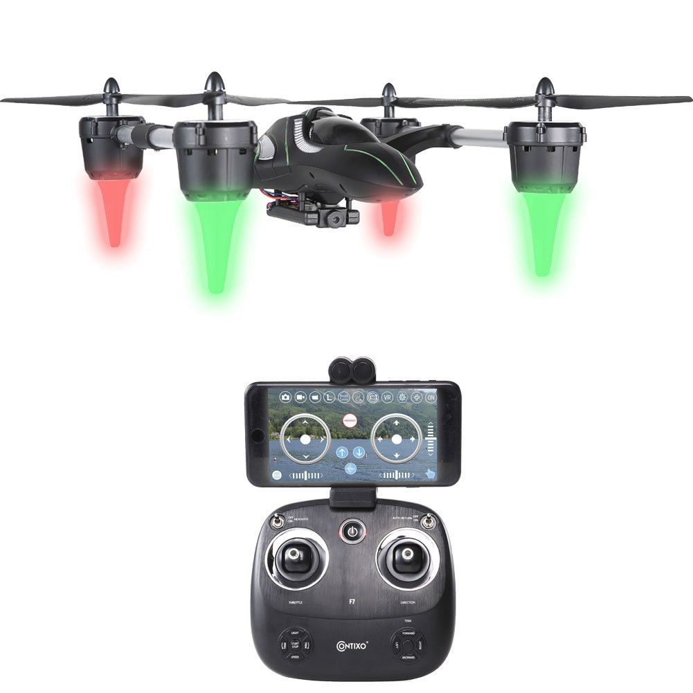 Contixo F7 RC Helicopter Drone 2.4Ghz 6-Axis Gyro 4 Channels with 720p HD Camera, FPV Live Feed, Mobile Device App Control, Headless Mode