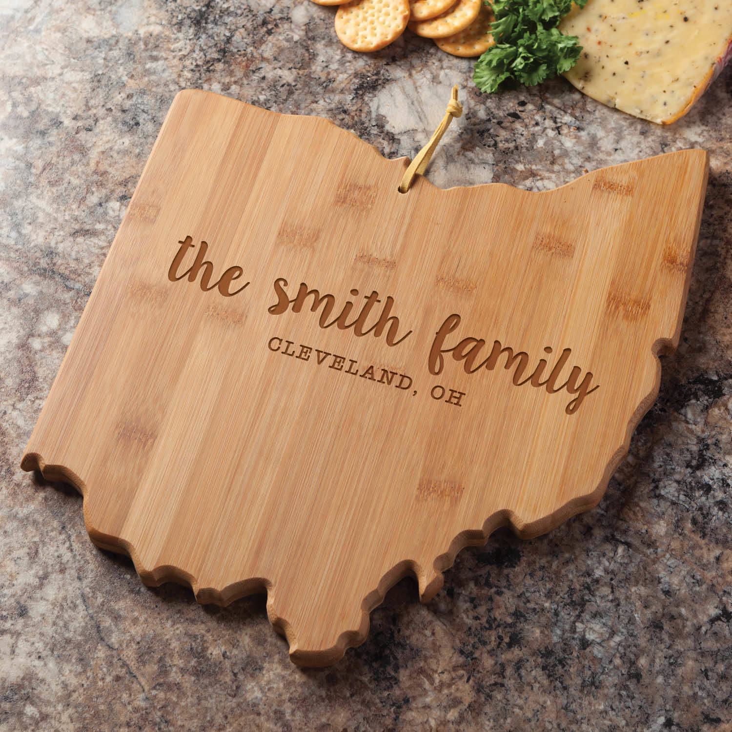 State of Ohio Personalized Bamboo Cutting and Serving Board