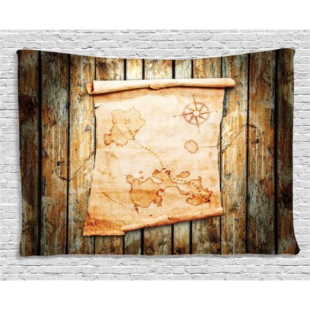 Island Map Decor Tapestry  Treasure Map On Rustic Timber The Spot Of Gold Nautical Pirates Concept  Wall Hanging For Bedroom Living Room Dorm Decor  80W X 60L Inches  Cream Brown  By Ambesonne