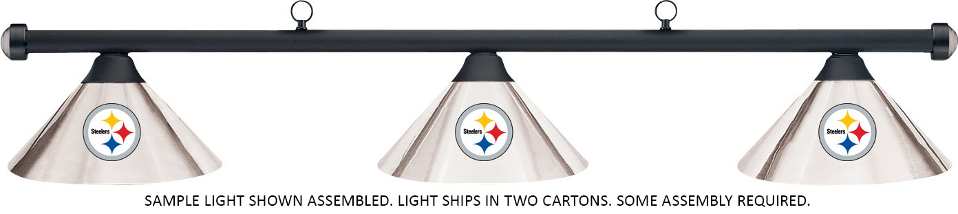 NFL Pittsburgh Steelers Chrome Shade U0026 Black Bar Billiard Pool Table Light