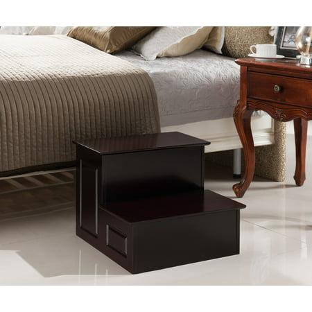 Jovannis Cherry Wood 14-Inch Large Bedroom Step Stool Display