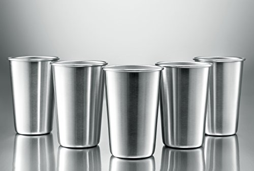 Wunderbar Modern Innovations Stainless Steel Pint Cups, Set Of 5 16 Oz BPA Free  Stainless Steel